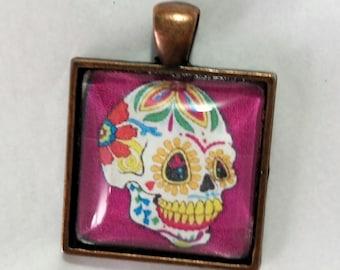 Sugar Skull Pendant Necklace with Purple Background, Day of the Dead Necklace, Día de los Muertos Pendant, Free Shipping