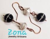 Natural Pearl Genuine Onyx Dangle Earrings, Sterling Silver Optional, Pearl Earrings, Onyx Earrings, Black and White Earrings