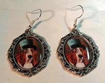Steampunk Dog Art Glass Earrings with Sterling Silver Ear Wires, Dog Lover Earrings, Steampunk Earrings, Art Earrings, Steampunk Jewelry,