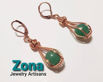 Aventurine Earrings, Wire Wrap Earrings, Available in Copper Sterling andSilverPlated, Caged Earrings, Natural Aventurine Earrings