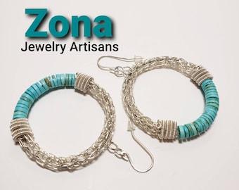 Turquoise Hoop Viking Knit Earrings, Turquoise Earrings, Designer Hoop Earrings, Hoop Earrings, Viking  Knit Earrings,  Wire Wrap Earrings