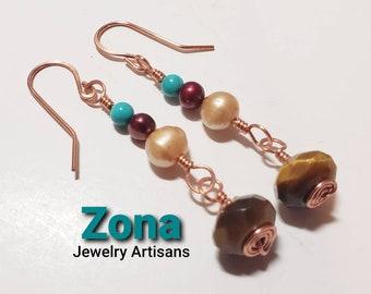 Mixed Gemstone Copper Earrings, Tiger Eye Earrings, Cultured Pearl Earring, Turquoise Earrings, Copper Earrings