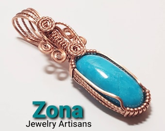 Kingman Turquoise Wire Wrapped  Copper Pendant, Turquoise Mountain Mine, Turquoise Pendant, Copper Wire Wrapped, Non Tarnish Copper Jewelry