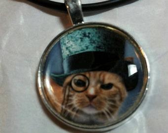 Steampunk Cat Necklace Pendant Jewelry, Cat Lover Jewelry, Pet Lover Jewelry, Cat in Teal Blue Top Hat