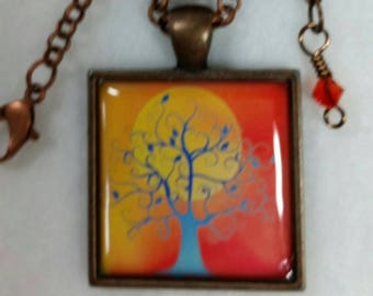 Family Tree of Life Necklace Pendant, Orange Background with Sun Tree of Life Jewelry, Art Pendant Necklace, Gift idea for Her Free Shipping