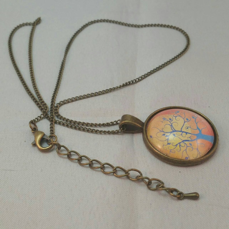 Tree of Life Necklace Pendant Family Tree  Jewelry With Yellow Sun Art Picture Pendant Gift Idea for Woman or Man