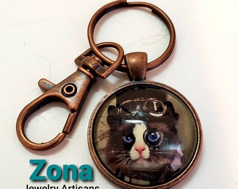 Cat Lover Key Ring, Steampunk  Keychain with Lobster Claw, Punk Art Keyring FOB Steampunk Jewelry Accessory, Free Shipping