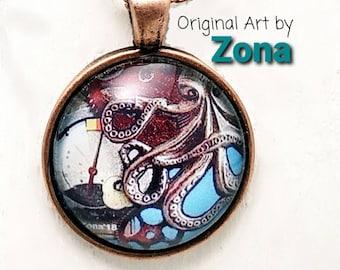 Steampunk Octopus Pendant, Sea Creature Jewelry, Steampunk Necklace Pendant, Octopus Necklace, Choice of Finish
