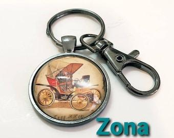 Antique Car Key Ring, Automotive Enthusiast Keychain, Lobster Claw Accessory, Gift Idea