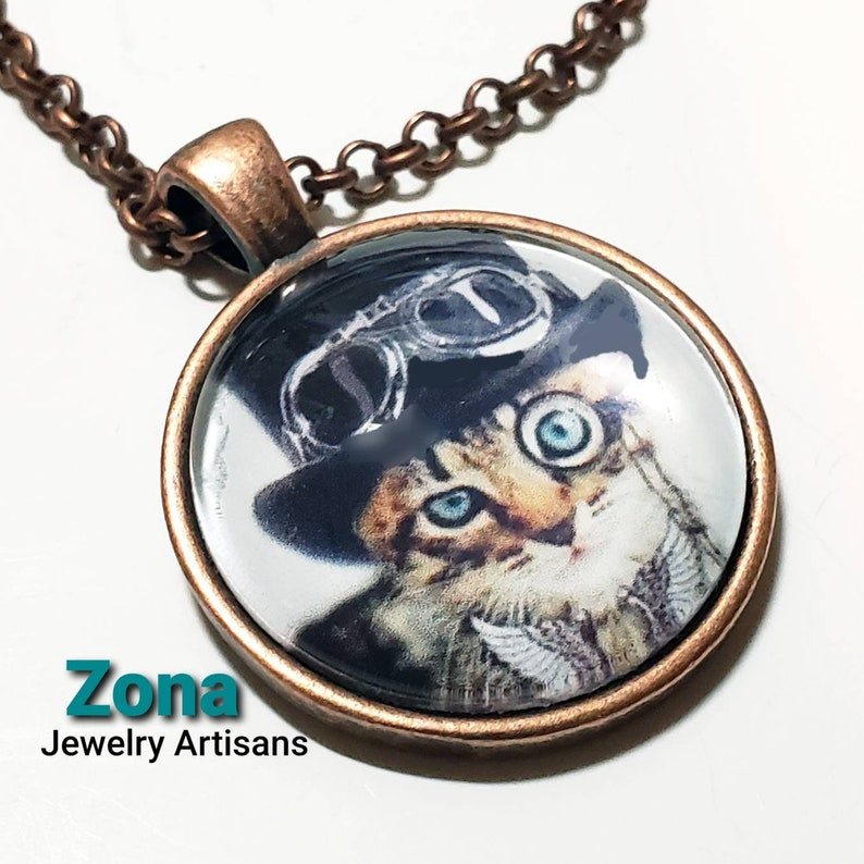 Steampunk Cat with Top Hat Glass Art Pendant Necklace image 0