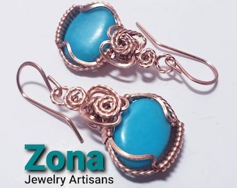 Kingman Blue Turquoise Copper Wire Wrapped Earrings, Ear Wire or Leverback, Turquoise Earrings, Sterling Silver Available.