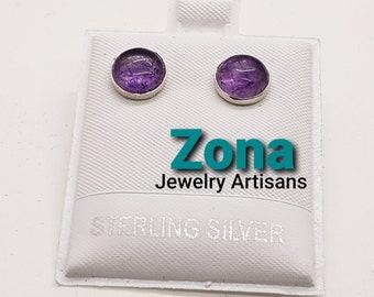 Amethyst 8mm Sterling Silver Button Stud Earrings, Natural Brazilian Amethyst Earrings, Sterling Silver Post Earrings,