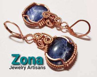 Sodalite Wrapped Earrings, Copper or Sterling Silver Finish, Sodalite Earrings, Wire Wrapped Earrings, Natural Sodalite Gemstone