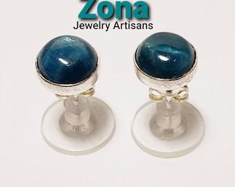 Brazilian Apatite 8mm Sterling Silver Stud Earrings, Apatite Earrings, Sterling Silver Post Earrings, Genuine Natural Apatite