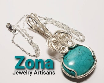 Wire Wrapped Turquoise Pendant Necklace, Southwest Jewelry, Natural Turquoise Necklace Pendant, Wire Wrapped Pendant,