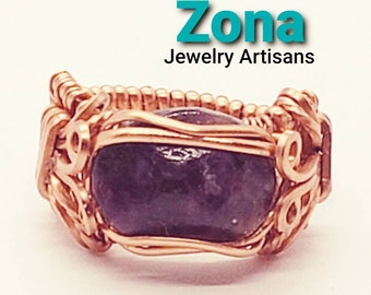Sugilite Wire Wrapped Ring in Non Tarnish Copper, Copper Wire Wrapped Ring, Sugilite Ring, Designer Ring, Size 7 Sugilite Ring.