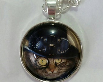 Steampunk Cat Glass Art Necklace Pendant, Cat in Dark Blue Hat Necklace, Cat Lover Jewelry, Pet Lover Jewelry