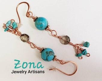Turquoise Topaz Copper Earrings, Kingman Turquoise Earrings, Topaz Earrings, Copper Earrings, Sterling Silver Earrings Optional