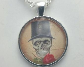 Halloween Jewelry Skeleton  Necklace Pendant, Skull Pendant  Gothic Art Pendant, Wicken Art Pendant