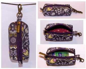 Handmade Hand Sanitiser Clip Bag - Purple Butterfly Floral