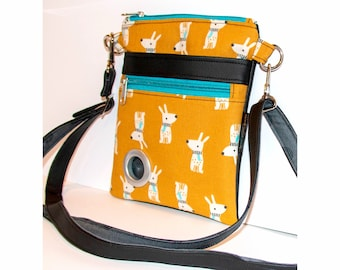 Handmade Cotton & Faux Leather Dog Walking Shoulder / Cross Body / Waist Bag - Dogs with Scarves