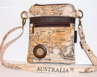 Handmade Cotton & Faux Leather Dog Walking Shoulder / Cross Body / Waist Bag - Maps