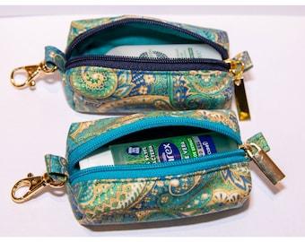 Handmade Hand Sanitiser Clip Bag - Green/Blue Paisley with Metallic Gold