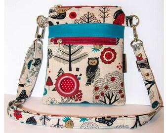 Handmade Cotton & Faux Leather Dog Walking Shoulder / Cross Body / Waist Bag - Forest Animals