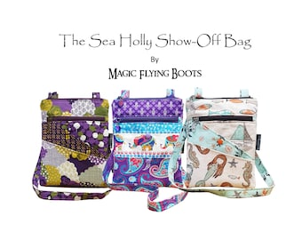 PDF Bag Pattern: The Sea Holly Show-Off Bag, with 2 options for external pockets, and adjustable strap