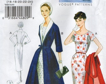 a4432baee01 Vogue 8875 VINTAGE REISSUE 1955 Sheath Dress   Coat Size 16 - 18 - 20 - 22  - 24 UNCUT English and French Instructions