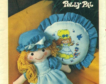 """Butterick 4519 POLLY PAL 26"""" DOLL & Clothes, Pillow 1970s"""