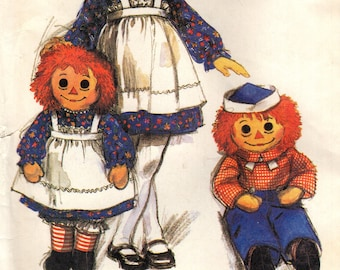 McCALL'S IMPRESSIVE LIFE SIZE 36 Inch Raggedy Ann and Andy Doll Pattern McCall's 7131