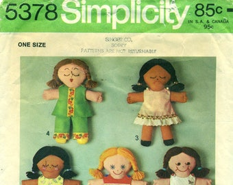 """Simplicity 5378 RAG DOLL 13"""" with 7 Face Choices and Multiple Garments 1970s"""