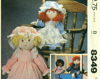 McCall's 8349 Girl & Boy Dolls LARGE and SMALL with Clothes Embroidered Faces, Yarn Hairstyles ©1982  Also Issued as McCall's 666