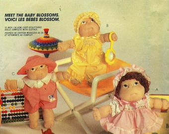 """McCall's 9581 BABY BLOSSOM 12"""" Soft Sculptured Dolls with Clothes ©1985 Also Issued as McCall's 770"""