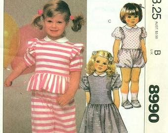 McCall's 8990 ROMPER DRESS  Peplum Top Bloomer Pants Size Choice ©1984