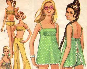 Simplicity 8199 GIDGET 2 Piece Bathing Suit, Bell Bottom Hip-Hugger Pants, Sheer Cover-up Top 1960s ©1969