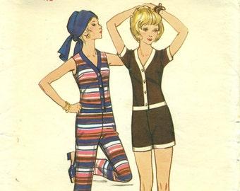 Butterick 5831 Long Jumpsuit Hot Pants Jumpsuit VINTAGE 1970s Size 10