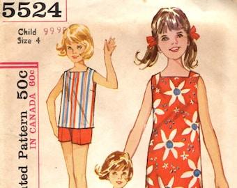 Simplicity 5524 Girl Size 4 Beach Shift Dress Top Shorts Set VINTAGE 1960s circa 1964 Use Panel Fabric