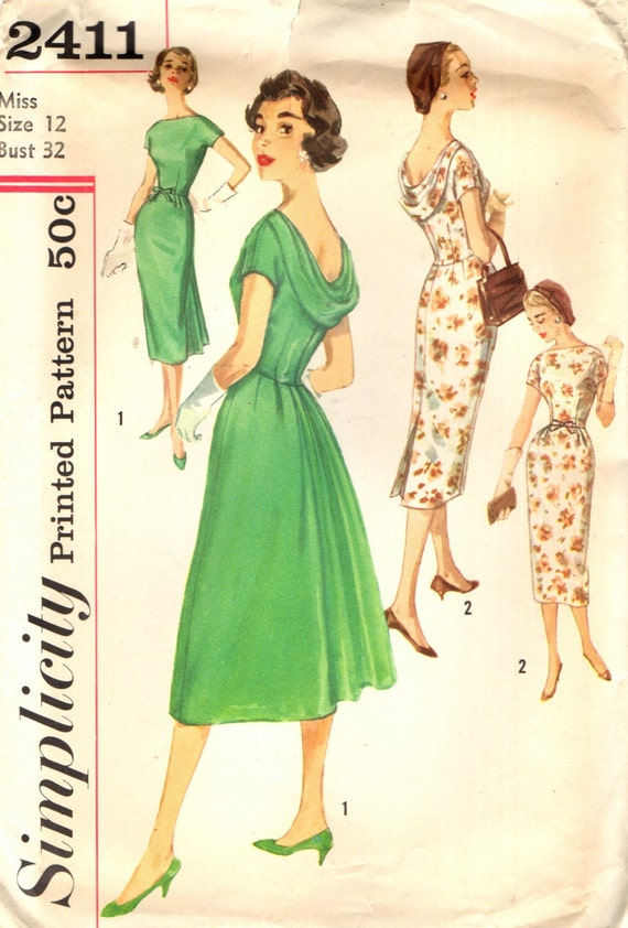 Simplicity 2411 AFTER FIVE COCKTAIL Dress Vintage 1950s ©1958