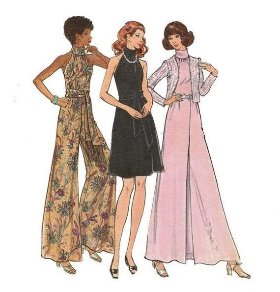 Butterick 6888 Halter Jumpsuit, Jacket, Dress High Collar Palazzo Wide Leg 1970s Size 14 Bust 36