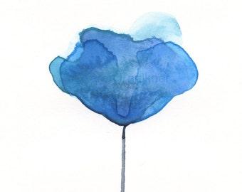 "Watercolor flower art print: ""Aegean Blue Flower"""