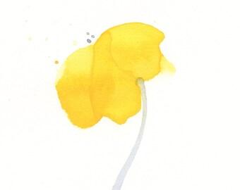 "Original watercolor flower painting, ""Buttercup"""