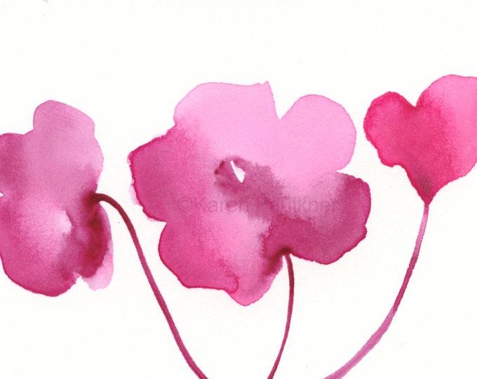 "Watercolor flowers art print of rose flowers: ""Rose Posy Trio"""