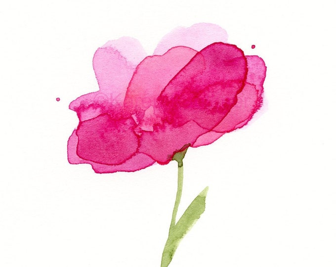 "Original watercolor flower painting: ""Pink Peony"""
