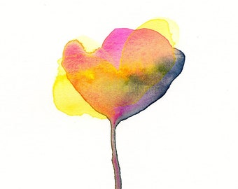"""Original watercolor painting of an abstract, multicolor flower , """"Summer Evening"""""""