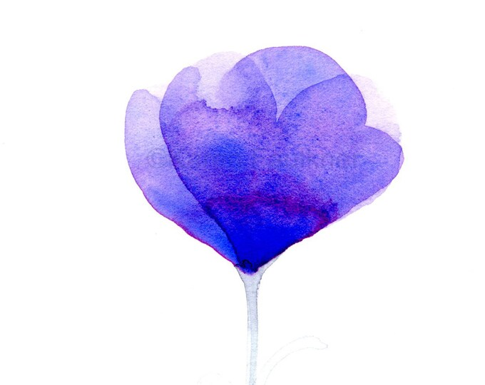 "Original watercolor painting of a purple flower: ""La Violette"""