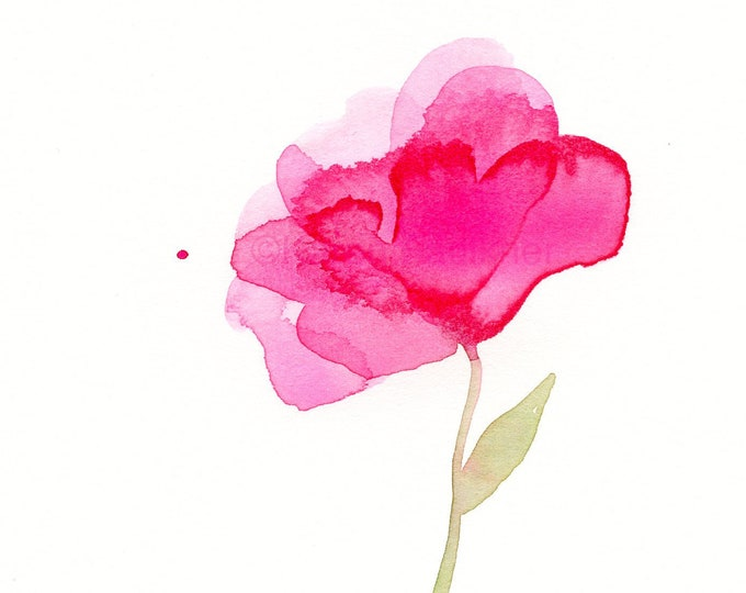 "Original watercolor flower painting: ""Pink Petals"""