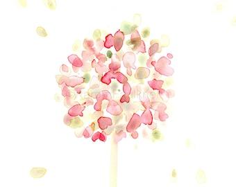"""Watercolor flower print, """"Pink Hydrangea"""""""