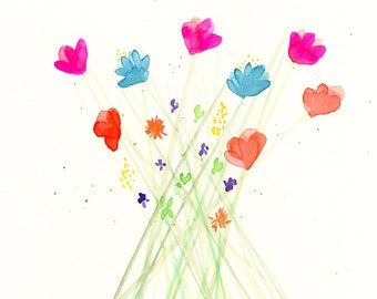 """Watercolor flowers, original painting of colorful flowers, """"Fresh Picked"""""""